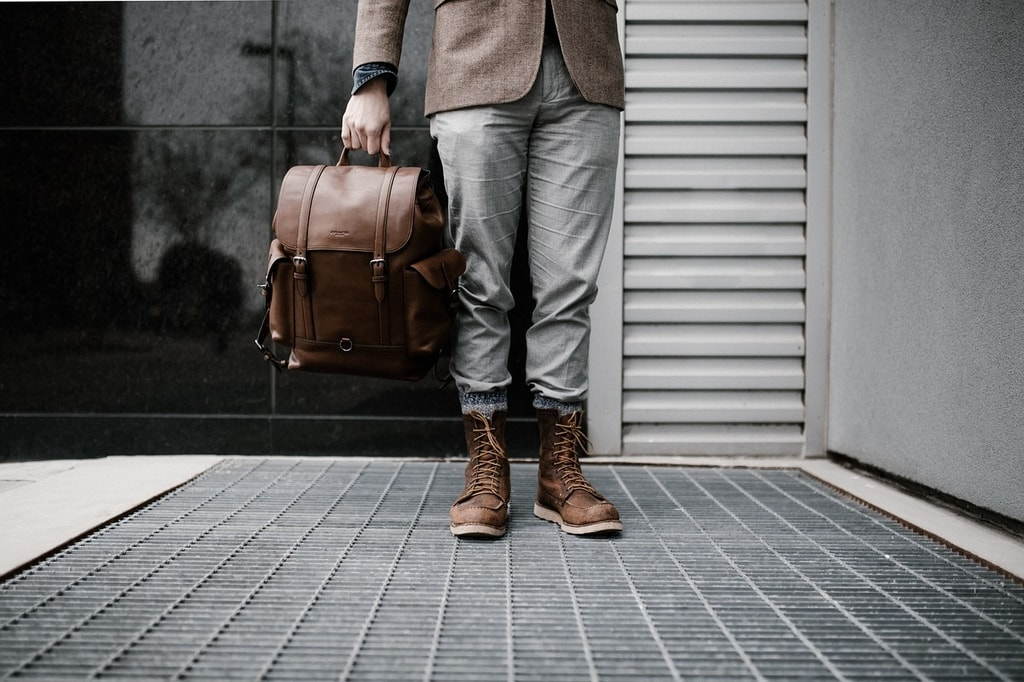 Traveler with carry-on essentials